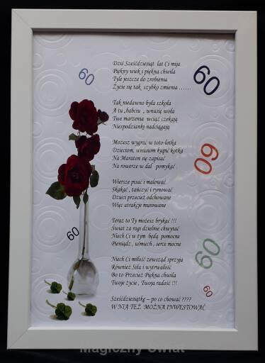 Dyplom 60 życzenia Dla Kobiety Na 60 Kę Ramka